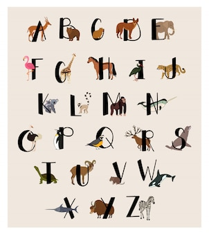 Cute animal alphabet set for kids