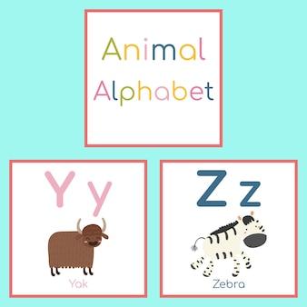 Cute animal alphabet. y, z letter. yak, zebra.