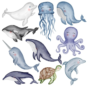 Симпатичные животные водные акварельные иллюстрации