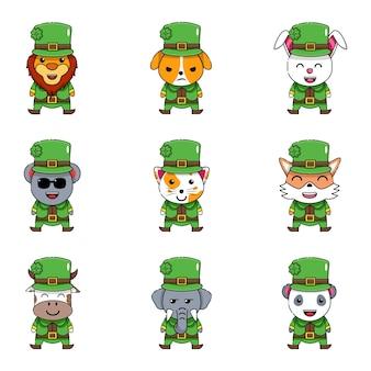 Cute animal as leprechaun bundle set