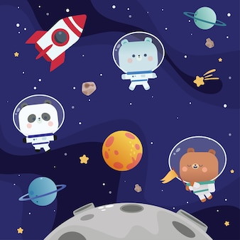 Cute animal astronaut removable wall decals diy home decor