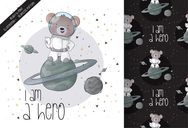 귀여운 동물 우주 비행사 곰 공간 원활한 패턴 및 카드