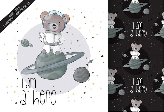 Cute animal astronauts bear in space seamless pattern and card