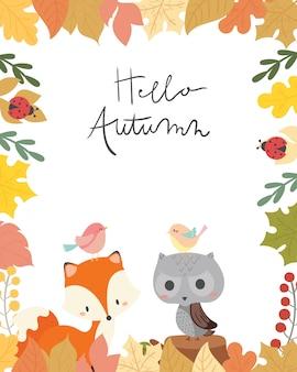 Cute animal autumn card vector illustration