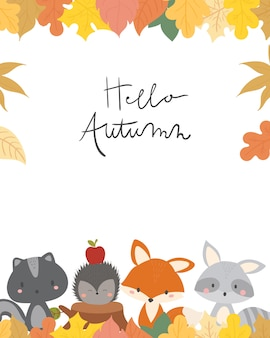 Cute animal autumn card vector illustration.