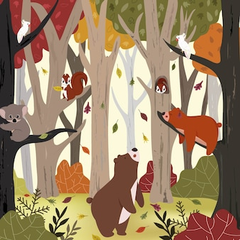 Cute animal in autumn forest.