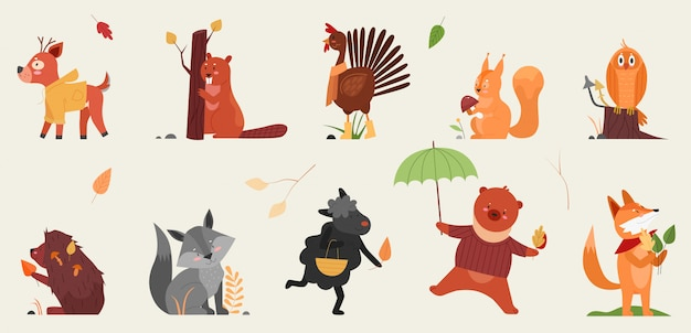 Cute animal in autumn illustration set. cartoon hand drawn autumnal forest collection with funny animals holding symbols of fall season, deer beaver rooster hedgehog squirrel owl fox sheep bear