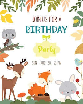 Cute animal autumn theme birthday party invitation card.
