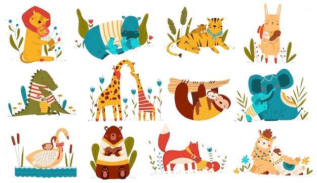 かわいい動物の赤ちゃんとママ、両親は子供の漫画のキャラクターを愛し、白、イラストに設定