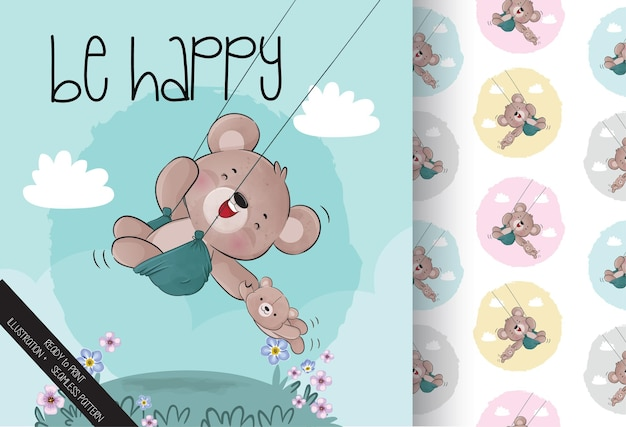 Cute animal baby bear happy on the swing seamless pattern and card