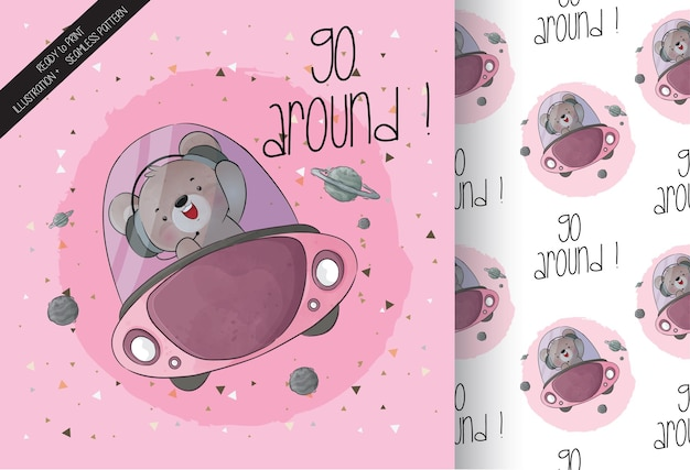 Cute animal baby bear on space ship seamless pattern and card