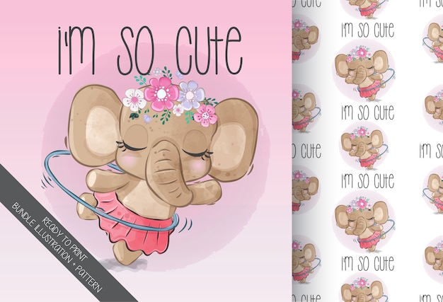 Cute animal baby beauty elephant with flowers seamless pattern