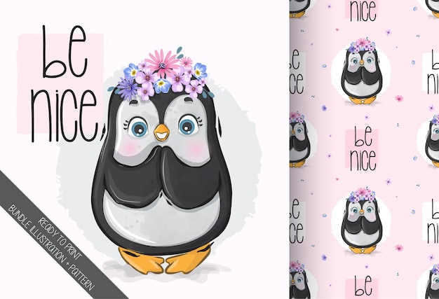Cute animal baby beauty penguin with flowers seamless pattern