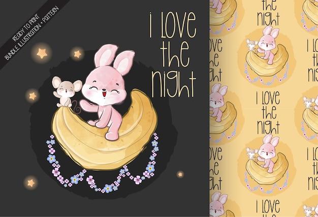 귀여운 동물 아기 토끼 행복 달 완벽 한 패턴에 비행