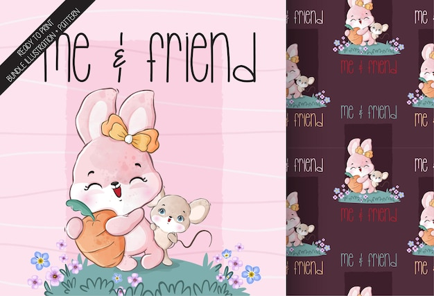 Cute animal baby bunny and mouse with carrot seamless pattern