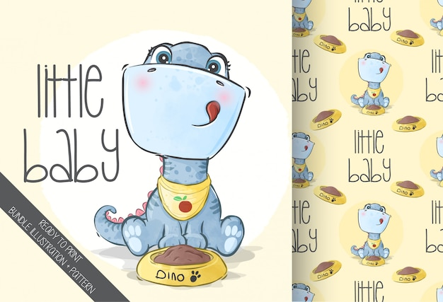 Cute animal baby dino with seamless pattern