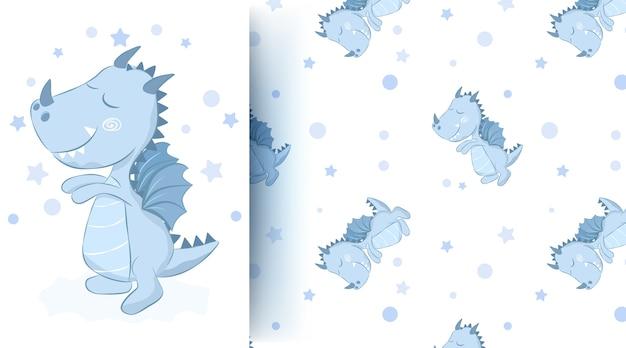 かわいい動物の赤ちゃんドラゴンのシームレスパターン
