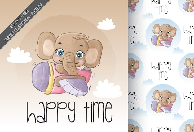 Cute animal baby elephant happy flying with airplane with seamless pattern