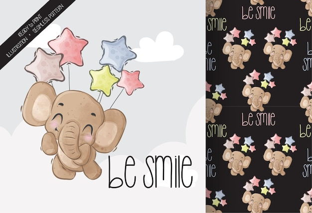 Cute animal baby elephant happy flying with balloon seamless pattern 1