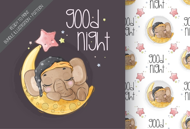 Cute animal baby elephant sleep on the moon seamless pattern