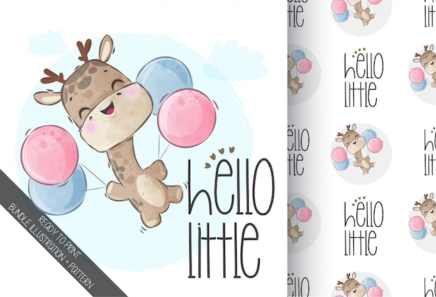 Cute animal baby giraffe happy flying with seamless pattern