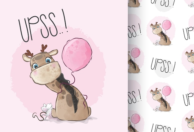 Cute animal baby giraffe with balloon seamless pattern