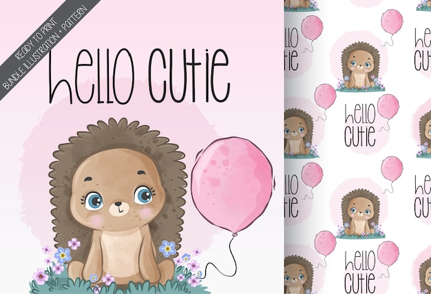 Cute animal baby hedgehog with balloon seamless pattern