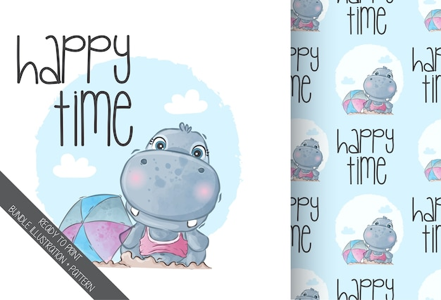 Cute animal baby hippo happy holiday time with seamless pattern