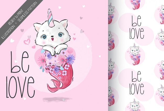 Cute animal baby kitten mermaid with seamless pattern