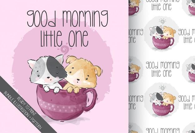Милый котенок ребенка животных на чашку бесшовные модели