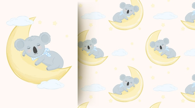 Cute animal baby koala sleeping on the moon seamless pattern