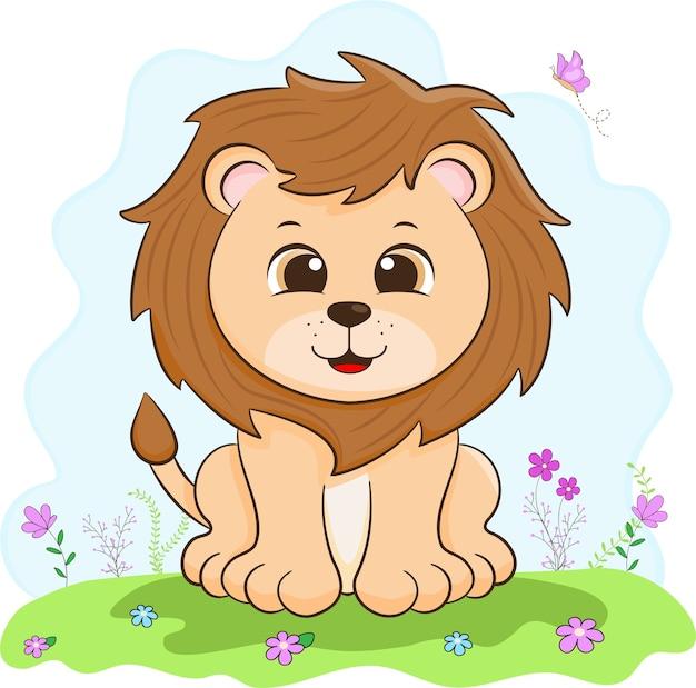 かわいい動物。赤ちゃんライオンのイラスト