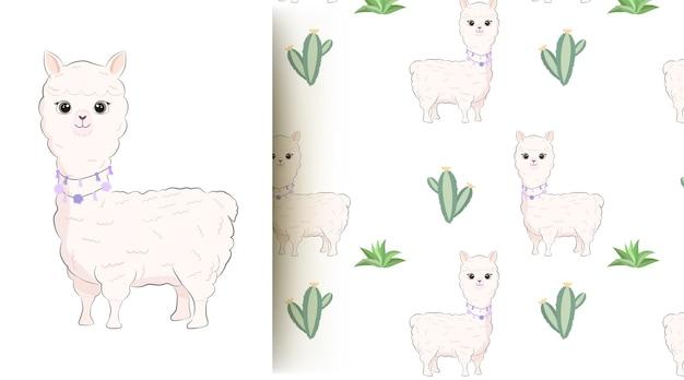 Симпатичные животные ламы и кактус бесшовные модели