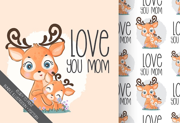 Cute animal baby lovely deers with flowers seamless pattern