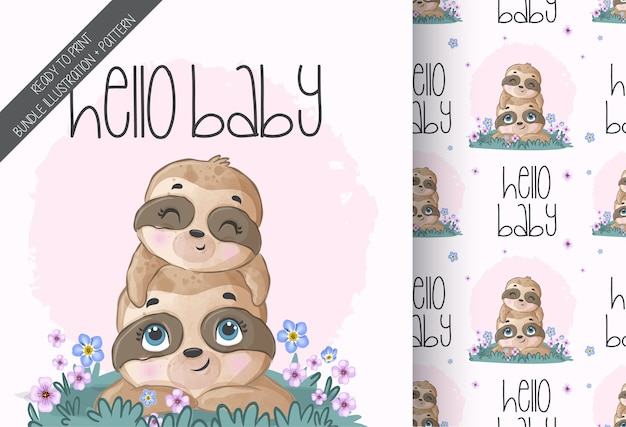 Cute animal baby lovely sloth seamless pattern