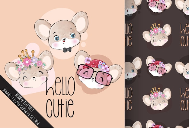 Cute animal baby mouse face with seamless pattern