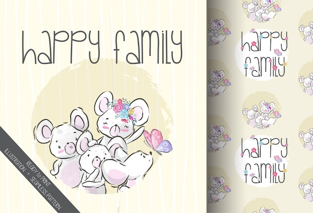 Cute animal baby mouse happy family seamless pattern