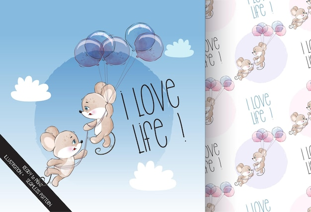 Cute animal baby mouse happy flying with balloon seamless pattern