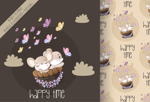 Cute animal baby mouse happy flying with butterfly  seamless pattern