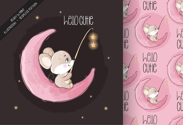 Cute animal baby mouse happy on the moon seamless pattern