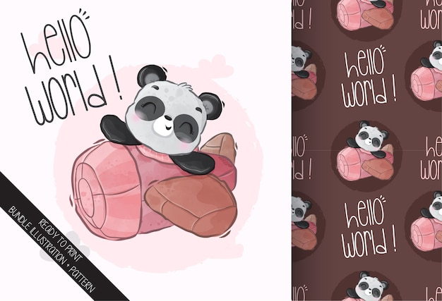 Cute animal baby panda on the airplane seamless pattern