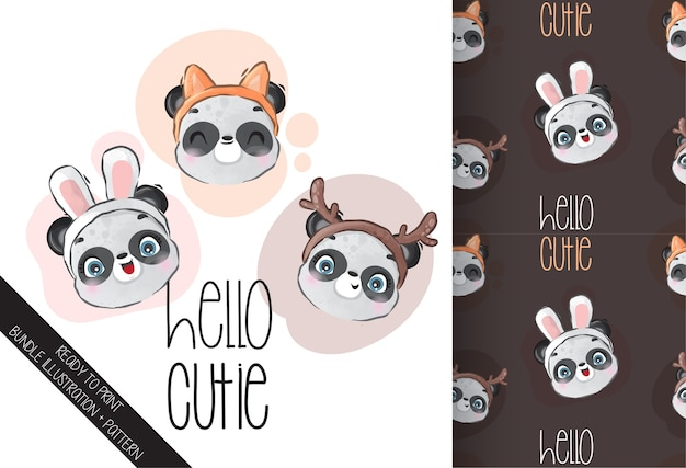 Cute animal baby panda face with cute hat seamless pattern