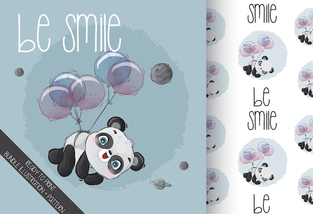 Cute animal baby panda happy flying with balloon seamless pattern