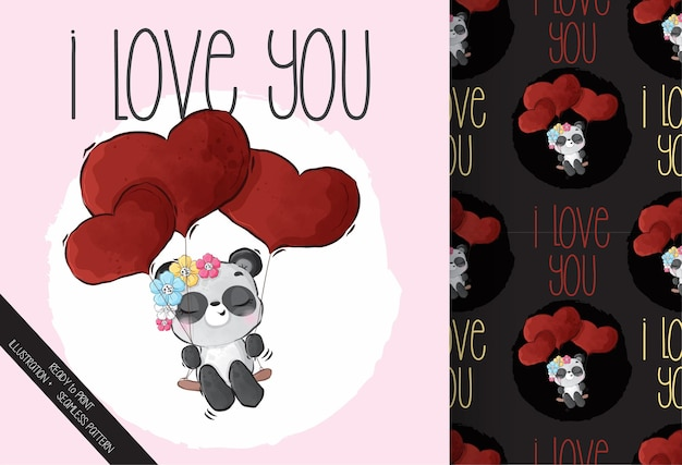 Cute animal baby panda happy flying with red love balloons  seamless pattern