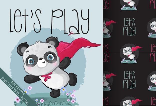 Cute animal baby panda hero seamless pattern