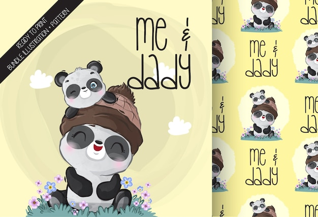 Cute animal baby panda with daddy seamless pattern