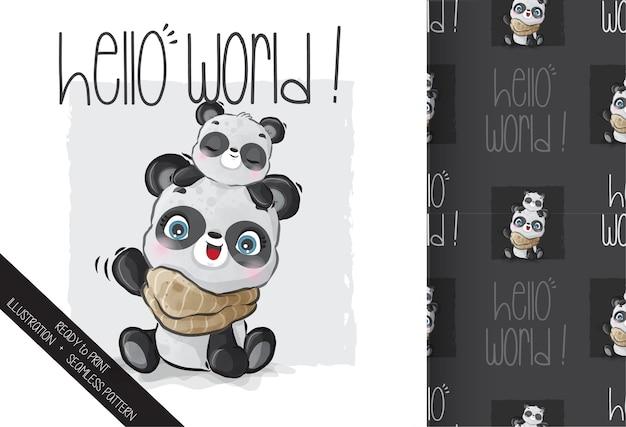 かわいい動物の赤ちゃんパンダのシームレスなパターン。かわいい漫画の動物。