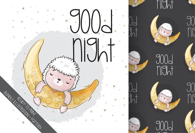 Cute animal baby sheep sleeping with seamless pattern