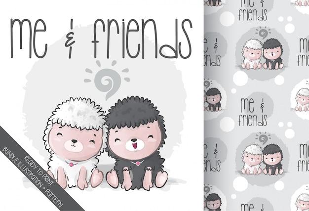Симпатичные животные детские овечки с подругой бесшовные модели