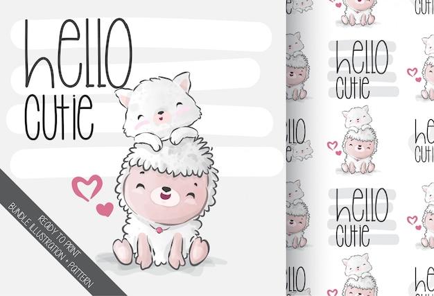 Симпатичные животные детские овечки с котенком бесшовные модели